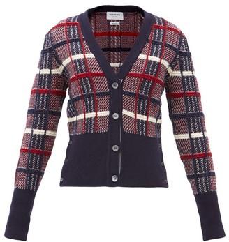 Thom Browne Checked-jacquard Wool Cardigan - Multi