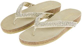 Monsoon Embellished Toe-Post Flatform Sandals Gold