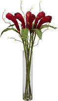Asstd National Brand Nearly Natural Ginger Silk Flower Arrangement with Cylinder Vase