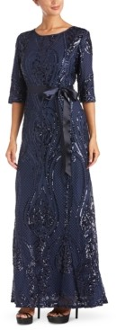 R & M Richards Sequin Embroidered Gown