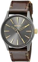 Nixon Sentry 38 Leather A377595-00. Gunmetal and Gold Men's Watch (38mm. Watch Face. 21mm Leather Band)