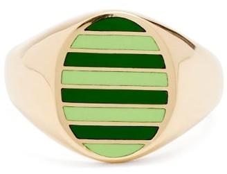 Jessica Biales - Enamel & 18kt Gold Ring - Green