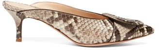 Gianvito Rossi Ruby 55 Buckled Python Mules - Womens - Grey Multi