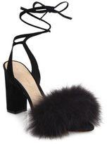 Loeffler Randall Nicolette Fox Fur & Suede Ankle-Wrap Sandals