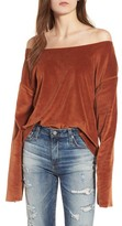 KENDALL + KYLIE Women's Off The Shoulder Velour Top