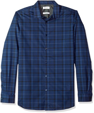 Calvin Klein Men's Long Sleeve Button Down Plaid Shirt