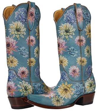 Old Gringo Saguaro Flower 13 (Crackled Blue) Women's Boots