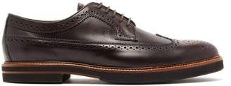 Tod's Perforated Leather Derby Brogues - Mens - Dark Brown
