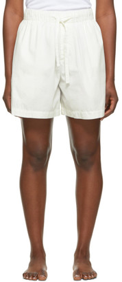 Tekla White Striped Pyjama Shorts