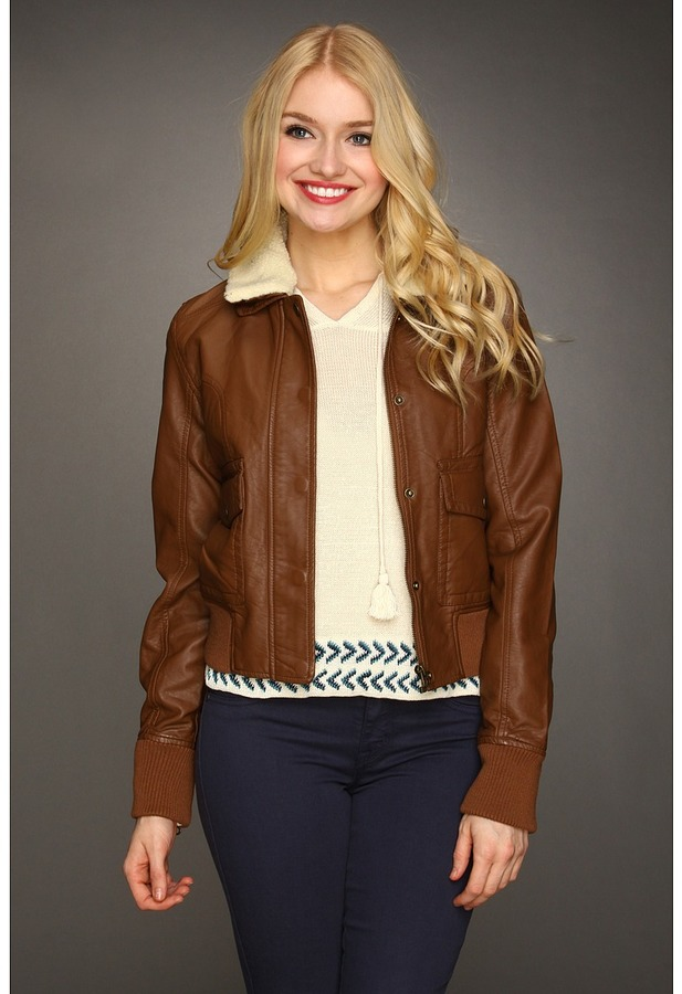 Members Only Faux Leather Bomber Jacket (Chocolate) - Apparel