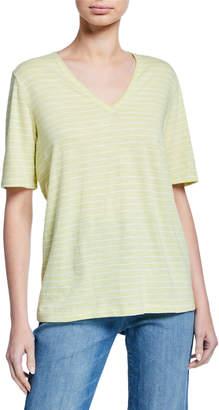 Eileen Fisher Striped V-Neck Short-Sleeve Organic Cotton Slub Tee