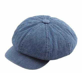 Tian Fan Ni Denim Canvas Octagonal Cap Newsboy Cap Women Baker Boy Hats 8 Panel for Berets Flat Cap (Dark Blue)
