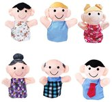 HaiHui Finger Puppet Set 6Pcs Family Members Story Doll Learning Cognize Development