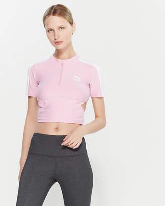 Puma Pink & White Cutout Short Sleeve Crop Top
