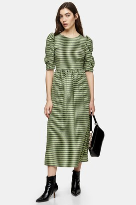 Topshop Womens Lime Green Gingham Lace Up Back Midi Dress - Lime