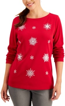 Karen Scott Plus Size Boat-Neck Embellished Snowflake Top, Created for Macy's