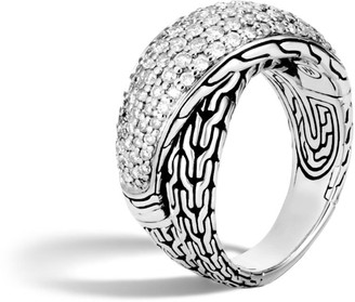John Hardy Silver and Diamond Pave Classic Chain Overlapping Ring