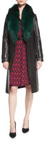 Diane von Furstenberg Valinda Leather Trench Coat w/Fur Collar, Black