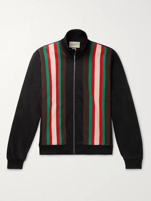 Gucci Slim-Fit Webbing-Trimmed Tech-Jersey Track Jacket - Men - Black