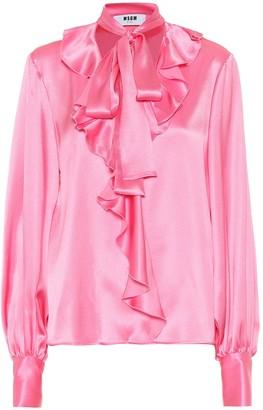 MSGM Silk-blend satin blouse