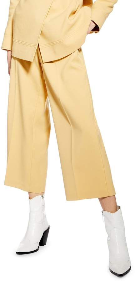 Topshop Bonded Wide Leg Cropped Trousers