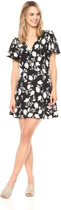 J.o.a. Women's Printed Button Down FIT & Flare Dress