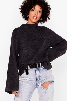 Nasty Gal Womens Flaring to Go Ribbed Knit Sweater - Charcoal