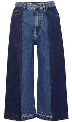 McQ Cropped Two-tone High-rise Wide-leg Jeans