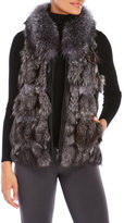 Surell Real Fur Vest with Leather Trim