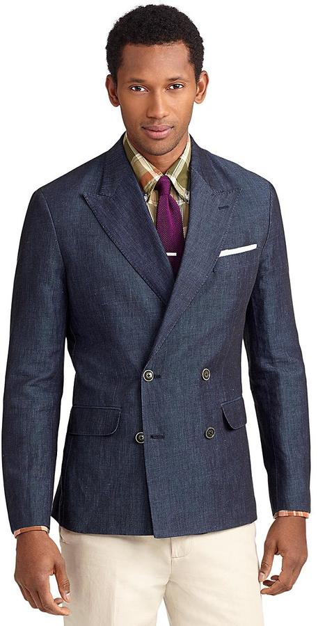 Brooks Brothers Milano Fit Double-Breasted Cotton and Linen Sport Coat