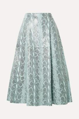 Alice + Olivia Sosie Snake-print Leather Midi Skirt - Sky blue