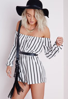 Missguided Petite Striped Bardot Romper White