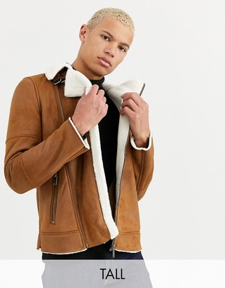 Burton Menswear Big & Tall shearling jacket in brown