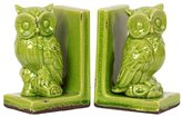 Charming and Captivating Stoneware Owl Bookend in Green by Benara