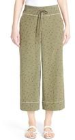 Lafayette 148 New York Print Silk Crop Drawstring Pants