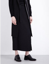 Y's YS Belted wool-twill maxi skirt