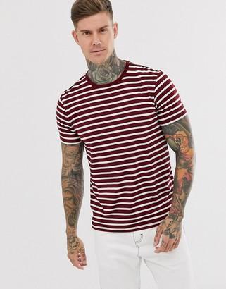 Topman t-shirt in burgundy & white stripe-Red