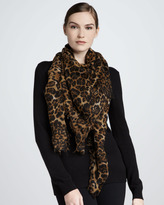 Sofia Cashmere Featherweight Leopard-Print Cashmere Scarf