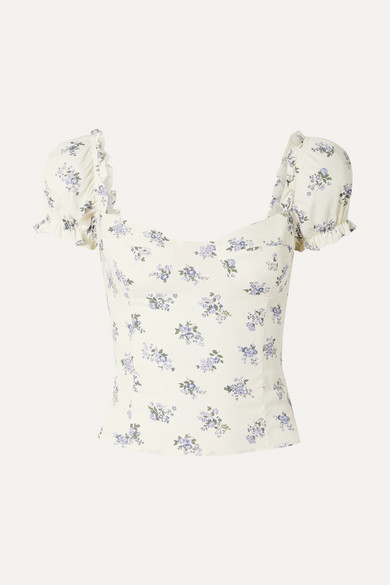 Reformation Jewel Cropped Shirred Floral-print Crepe Top - Ecru