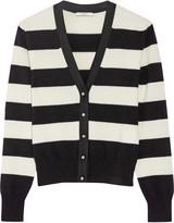 Bouchra Jarrar Grosgrain-trimmed striped wool-blend cardigan