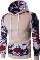 jeansian Men's Fashion Stitching Hoodies Pullover Sweater Sweatshirt Tops 88L1 White L