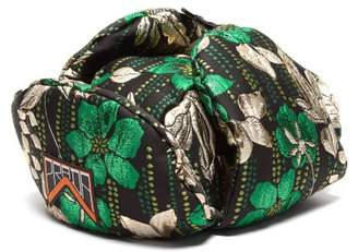 Prada Floral Jacquard Brocade Trapper Hat - Womens - Green