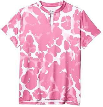 Nike Dri-FITtm Short Sleeve Print Polo (Little Kids/Big Kids) (Cosmic Fuchsia/White) Girl's Clothing