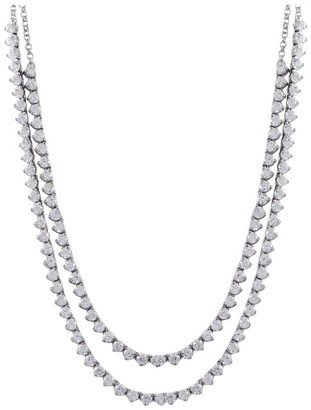 Luxiro Sterling Silver Cubic Zirconia Two-row Statement Necklace