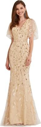 Ever Pretty Ever-Pretty Women's Elegant Mermaid Ruffle Sleeve V Neck Shiny Maxi Evening Dresses Gold 24UK