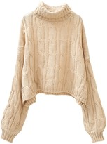 Goodnight Macaroon 'Lucy' Turtleneck Cable Knit Cropped Sweater (3 Colors)