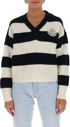 Moncler Striped V-Neck Sweater