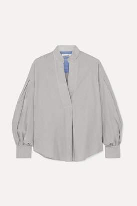 Frame Striped Cotton-poplin Blouse - Gray