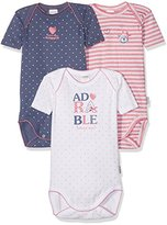 Absorba Baby Girls' 3 Us Mc Adorable Bebe Bodysuit (Pack of 3), Rose (Grenadine)