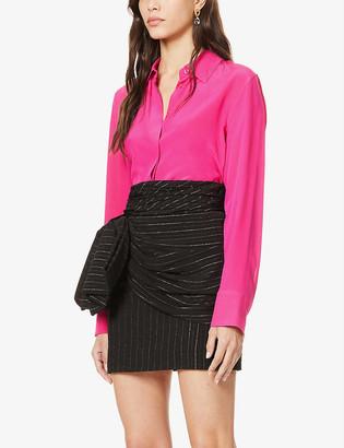 Redemption Metallic stripe-pattern woven mini skirt